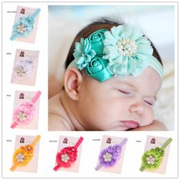 Wholesale Cheap Gift Bows - 12 pcs Satin flower Rosette flower headband High Quality Hair Bow Accessories Cheap Headband Hair Bows Baby Shower Gift