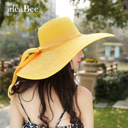 Wholesale Ladys Hats - Wholesale- Ladys Tide Visor Tourism Beach Hat Sunscreen Straw Hat Women's Big Brim Sun Hat Anti-UV 2016 Cute Girl Bow Visor
