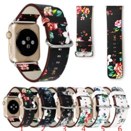 Wholesale Leather Bracelets Flowers - For Apple Watch Strap Bands Genuine Real Leather Flower Straps Band 38 42mm Bracelets With Adapter