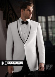 Wholesale Tuxedo Gorgeous Suits - Gorgeous White Custom Groom Tuxedos Men Suits Shawl Lapel Bridegroom Wedding Business Prom Party Suits