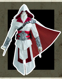 Wholesale Cosplay Ezio White - Ezio Auditore da Firenze Cosplay Assassins Creed Discovery Brotherhood And Revelations Costume With Silver Armors