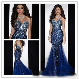 Wholesale Gold Diamond Prom Dresses - 2018 Shiny Bling Mermaid Sweetheart Open Back Crystals Beaded Sequined Diamond Prom Dresses Royal Blue Evening Pageant Gowns