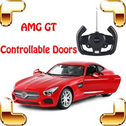Wholesale Gt Rc - New Arrival Gift AMG GT 1:14 RC Remote Control Car Doors Controllable Vehicle Roadster Model Die-cast Outdoor Indoor Fun Game