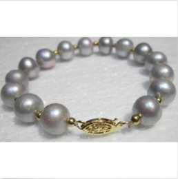 Wholesale South Sea Pearls Strands Round - NATURAL 9-10MM ROUND SOUTH SEA GENUINE GRAY PEARL BRACELET 14K YELLOW GOLDEN CLA