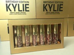 Wholesale Gold Liquid - Kylie Jenner Limited Birthday Edition Kylie Matte liquid Lipstick 1lot =6pcs mini gold kylie lip kit