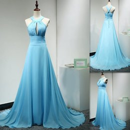 Wholesale Pricing Chart - Sky Blue Long Bridesmaid Dresses 2017 A-line Chiffon Sweep Train Real Photos Country Style Cheap Price Custom Made Gowns