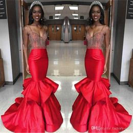 Wholesale Beaded Fit Flare Gown - Fit and Flare Spaghetti Straps 2017 Red Prom Dresses Mermaid Beading Sequined Ruffles Nigeria Hot Long Formal Evening Party Gowns Vestiods