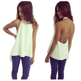 Wholesale Womens Vests Size Xl Blue - Wholesale-Fashion Womens Sleeveless Vest Chiffon Top 2016 Sexy Backless White Shirt for Ladies Summer Pleated Shirt Blouse Plus Size QL900