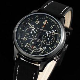 Wholesale Chronograph Pilot Watch - All Subdials Work Top Luxury Brand Swiss Casual chronograph Men's Watches Quartz Clock Leather pilot Watch Fashion Men sports Wristwatches