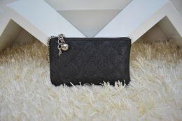 Wholesale Buckle Clutch - Fashion Designers Brand Clutch lambskin caviar Leather Wallet Classic Diamond Lattice Key Buckle Card Holders Wallets With Box 50168