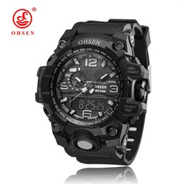 Wholesale Mens Waterproof Swimming Watches - New OHSEN Fashion Black Digital Quartz Mens Man Wristwatches Relogio Masculino Silicone Strap 50M Swim Waterproof LCD Sports Watches Gifts