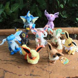 Wholesale Pokemon Stuffed Set - Poke Plush 9 pcs set 20CM Plush Toy Flareon Espeon Jolteon Umbreon Glaceon Leafeon Eevee Vaporeon Stuffed Doll Best Gift