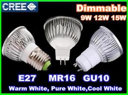 2019 projecteur dimmable Dimmable CREE Led Lampe 9 W 12 W 15 W MR16 12 V GU10 E27 B22 E14 85-265 V Led spot Lumière Spotlight led ampoule downlight éclairage