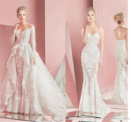 Wholesale Zuhair Murad Lace Bodice - 2016 Modest Zuhair Murad Detachable Wedding Dresses with Lace Long Sleeves Fitted Sweetheart Applique Beach Plus Size Bridal Gowns Vintage