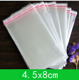 Wholesale Adhesive Bags For Jewelry - Free shipping 1000pcs lot New jewelry Bag (4.5x8cm) with self-adhesive seal clear opp bag  poly bag for wholesale