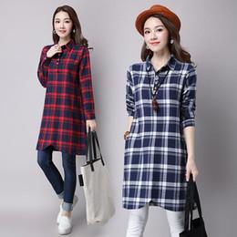 Wholesale Vintage Cotton Clothing - 2016 Autumn dress Plus size Loose Slim Long sleeve Medium style Women clothing Cotton Linen Casual dresses