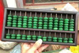 Wholesale Yellow Jade Carving - Chinese Folk Accountant Wood Inlay Green Jadeite Jade Bead Abacus Counting Frame
