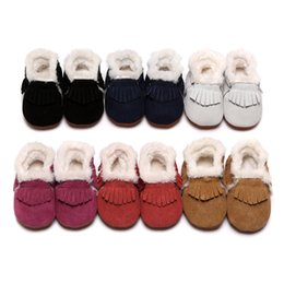 Wholesale Warm Boots For Baby Boys - 2018 new Baby Moccasins Boots With Fur Fleece Lined hard Rubber Soles bottom Warm Snow Boots Winter Baby Shoes For Boys And Girls