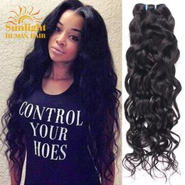 Wholesale Indian Ocean - Brazilian Virgin Hair 4 Bundles Water Wave Natural Wave Ocean Wave Virgin Hair Wet And Wavy Virgin Human Hair Weave Bundles