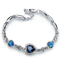 Wholesale Sliver Bracelets - Bracelets for Women Fashion Ocean Blue Sliver Plated Crystal Rhinestone Heart Charm Bracelet Bangle Gift Swarovski Jewelry Charm Bracelets