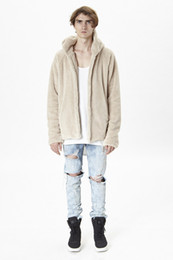 Dio peluche online-2017 Best Version Fear Of God FOG Uomo Open Stitch Cardigan peluche Cappotto Cappotto Hiphop Supre Hoodies Felpe Giacche Cappotto Felpe