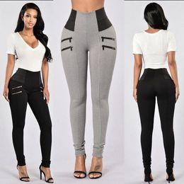 Wholesale Womens Tight Clothes - FASHION womens sports leggings High waist tight elastic pants gray black underpants womens clothing