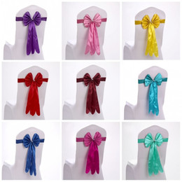 Wholesale Elegant Chair Sashes - Satin Chair Cover Elegant Easy To Clean Wedding Supplies Long Style Bow Tie Shape Chairs Sashes Hot Sale 2 5sk B