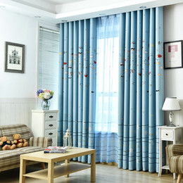 63 inch curtain grommet Coupons - Window Curtains for Kids Child Living Room Bedroom Sea Fish Pattern Blue Shiny Drapes Window Panel Curtain Home Decoration