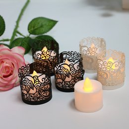 Wholesale Laser Shade - Creative Laser Hollow Pearl Paper LED Candle Shade Cover Make Light Romantic Lace Paper Candles Decor DIY Case 12.5*4.5CM
