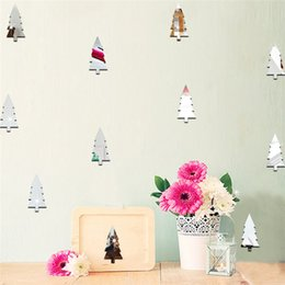 Wholesale Tv Mirror Glasses - 18pcs set Pine Tree Christmas Tree Decorative Mirror Stickers Bedroom Kids Room TV Sofa Background Decorative Wall Stickers