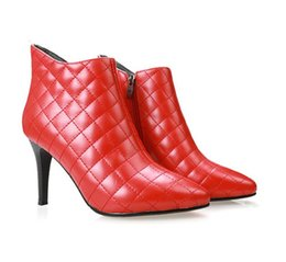 Wholesale Red Diamond Boots - Women diamond-shaped boots Top Quality New Arrival Fashion Brand Classic Luxury Genuine Leather Sexy Ladies fine high heel Boots