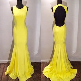 Wholesale Mermaid Sweethear - Mermaid Evening Dresses Sweethear Jewel Neck Back Hole Satin Evening Gowns Sweep Train Sleeveless Free Shipping Formal Party Gowns 2017