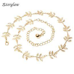 Wholesale Thin Belts For Dresses - Wholesale- decoration leaf gold dress thin gold waist chain belts ladies 2017 luxury Leaves metal fine female belt for women Strap J020