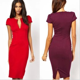 Wholesale Lady Ball Slim - New Elegant Ladies' Sexy Plunge V-Neck Fashion Celebrity Pencil Dress,Women Wear to Work Slim Knee-Length Pocket Party Bodycon OL Dresouc029