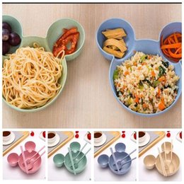 Wholesale Baby Utensils - Kids Bowl Salad Plate Tableware Dinnerware Eco-friendly Fruit Plate Dishes Tableware Lunch Bowl Babies Feeding Dishes Utensils Set KKA2695