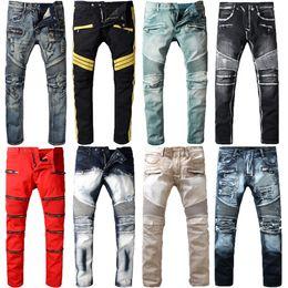 Wholesale Motorcycle Classic - Top Quality Vintage Features Mens Jeans Pants Streetwear Motorcycle Style Locomotive Zipper Biker Pants Classic Slim for Men
