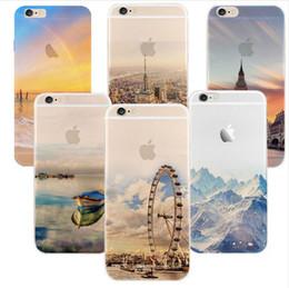 iphone londres Promotion Mode Ultra Mince Silicone Souple TPU Belle Montagne Ville Tour Océan Paysage Londres Eye Téléphone Case pour iPhone 5s 6s 6 6s plus 7 7plus