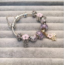 light snakes Promo Codes - 925 Sterling Silver Light Purple Murano Glass Beads Charm Magnolia Enamel Flower Pendant Bead Fit Women Pandora Bracelet Bangle Diy Jewelry