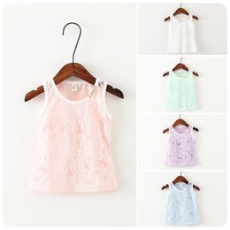 Wholesale Girls Swing Tops - Kids Girl Shirt Top Summer Sleeveless Shirt Lace Edges Wave Swing Shoulder Holster Sweet Child Clothing