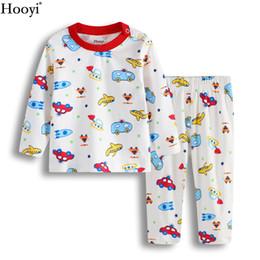 Wholesale Baby Clothes Car Cartoon - Cartoon Baby Pajamas Clothes Suit 100% Cotton Boys Sleepwear Plane Car Children Sleep Sets Long Sleeve Girls Clothing Set PJ'S 0-2Years