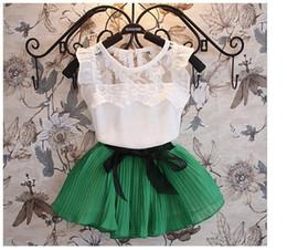 Wholesale Cute Lace Skirts - Summer Children Clothing Girls 2pcs Sets Kid Short Sleeve Lace virgin suit summer children's skirt suits summer cuhk children short sleeves