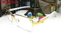 Wholesale Square Plastic Clear Box - High Quality 2018 Retro Sun glasses For Women Metal and Wood Bamboo Frame Brand Designer Sunglasses For Men Clear Lens Come With Box