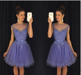Wholesale Homecoming Dress New - 2017 New Lavender Sheer Crew Neck Homecoming Dresses Cap Sleeves Lace Appliques Beaded Short Party Dresses with Belt Backless Mini Dresses