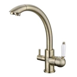 Wholesale Kitchen Sink Styles - 2017 Rushed Troditional Style Antique Bronze Kitchen Faucet Sink Mixer Tri-Flow Three Way Water Filter Tap