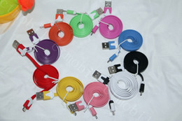 Wholesale Iphone Usb Flat Wire - Micro USB Cable Noodle Flat USB Wire 1M 3ft For Samsung s6 s7 note 4 5 huawei xiaomi
