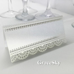 Wholesale Lace For Invitations - 50pcs Free Shipping Beautiful Lace Flowers Laser Cut Paper Place Seat Name Invitation Card for Wedding Birthday Party Table Decorations