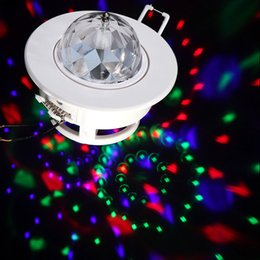 Wholesale Moving Led Cree - 3W Voice-activated Rotating Moving Head Ceiling Stage Light Colorful DJ Disco party festa RGB LED stage lighting Free Shipping