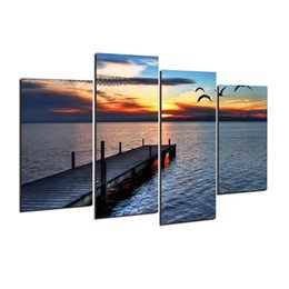 Wholesale Canvas Pier - 4 Pcs Modular pictures sea wooden trestle pier Modern Home Decoration Living Room or Bedroom Canvas Print Painting poster h 166