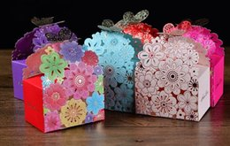 Wholesale Baby Shower Favor Paper Bag - 2016 laser cut butterfly Floral favor bags paper chocolate candy boxes baby shower favors gifts Wedding Candy Holder Wedding Favor Holder