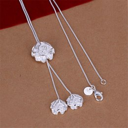 Wholesale Three Flower Diamond Necklace - New arrival Three roses necklace sterling silver necklace STSN036,brand new fashion 925 silver Chains necklace factory direct sale